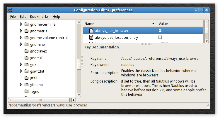 Key in the Configuration Editor